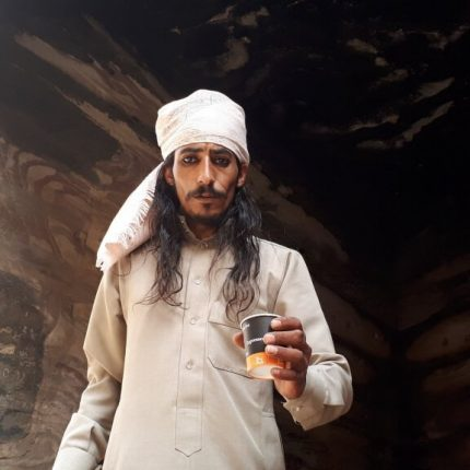 native jordanian man drinking coffee
